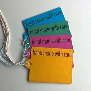Gift tags - Hand made with care, set 4