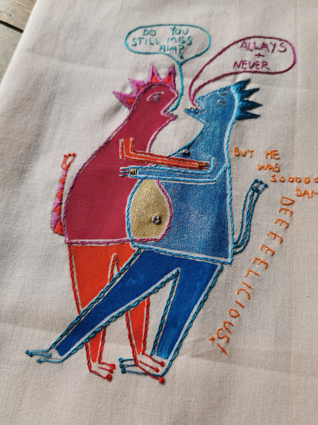 The Monsters Who Munch - printed panel to embroider, by Saima Kaur