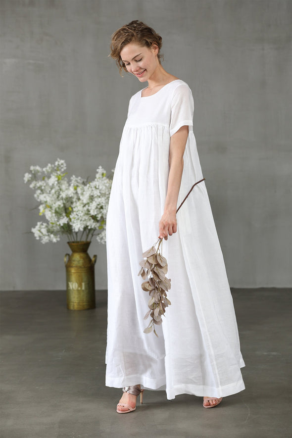 white maxi linen maxi wedding dress| Linennaive®