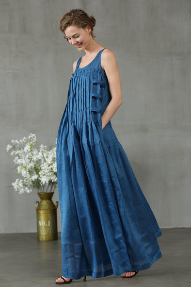 maxi linen dress in blue cocktail dress | Linennaive®