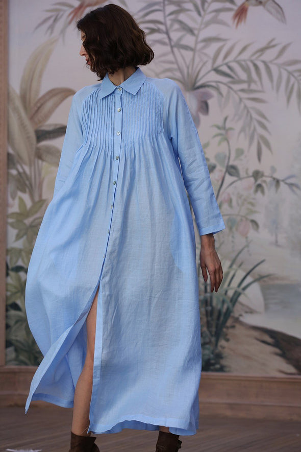 button down linen dress | Linennaive®