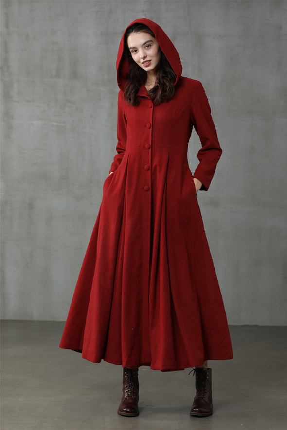 My Fair Lady 26 | Hooded Red Wool Coat