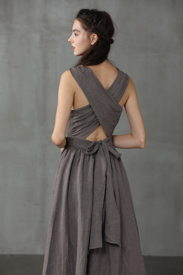 VETIVER 17 | Cross Back Linen Dress
