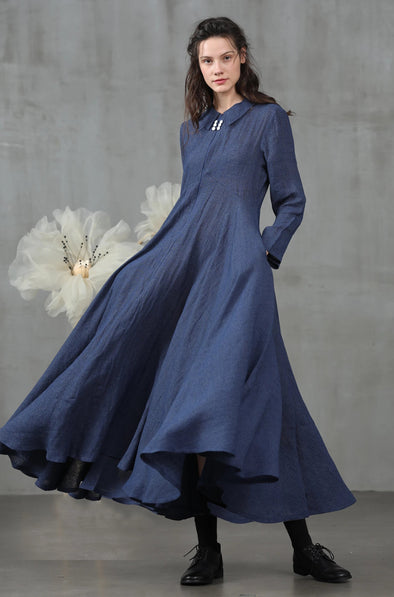 navy blue dress linen dress| Linennaive
