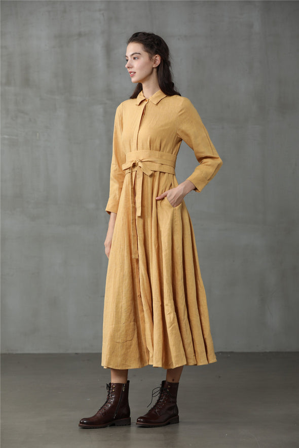 Cosmos 14 | obi belted linen dress