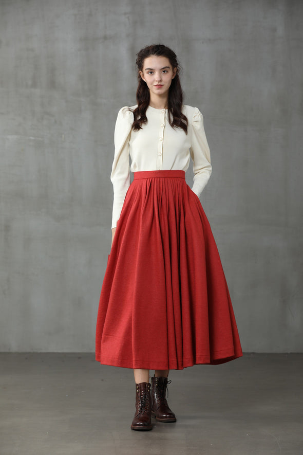 Wooden Ark 11 | Wool Pleated Skirt