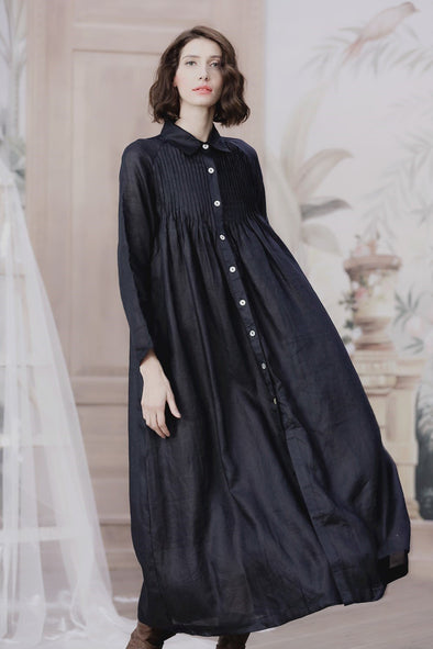 navy blue bottoned down linen shirt dress | Linennaive®