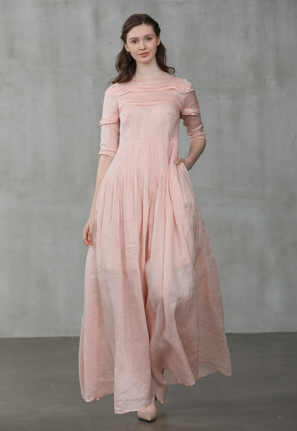 luscious pink maxi dress | Linennaive®