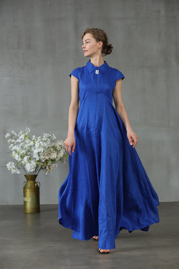 cap sleeve linen dress blue maxi dress | Linennaive®