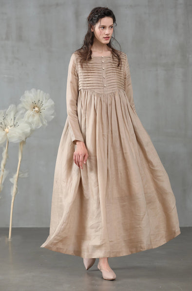 linen dress, maxi dress in champagne, winter dress, pleated dress, longsleeved dress