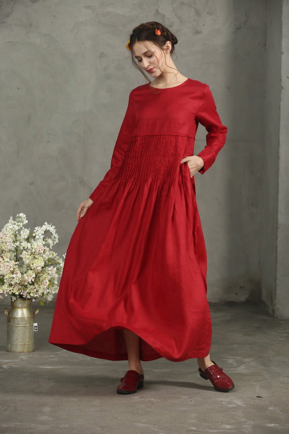 red maxi linen dress with longsleeves | Linennaive®