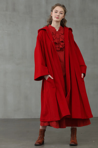 red wool coat hooded wool coat | Linennaive