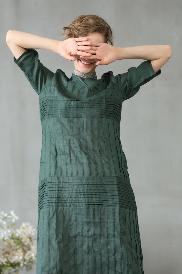 Helleborus 53 | teal green linen dress