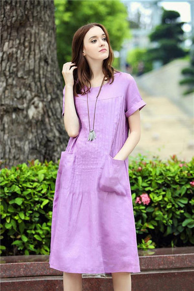 pintuck linen dress in iris | Linennaive®