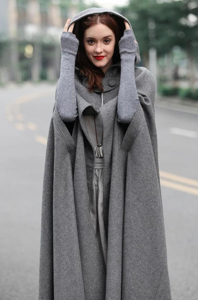 Gray Wool Cloak Cape 100% Cashmere