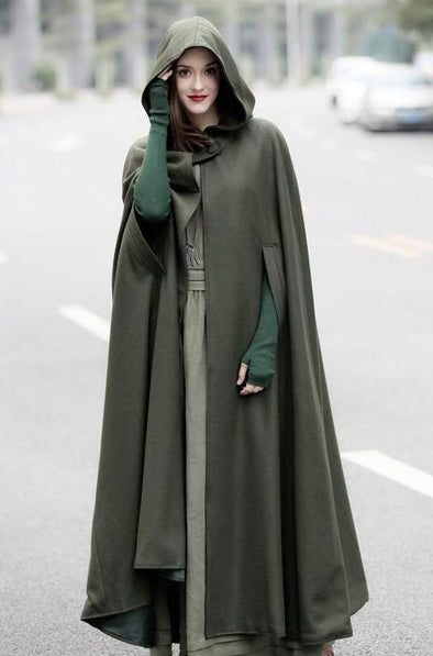 Green Wool Cape Hoode Maxi Cloak 7 colors