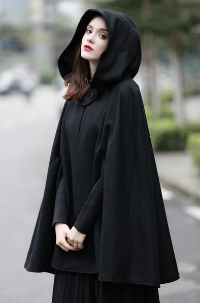 Hooded Cloak Cape Winter Coat