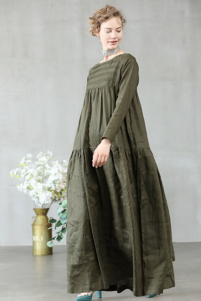 Linen Kaftan Dress Sage Green Dress | Linennaive®