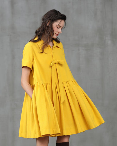 wool dress bow yellow tunic | Linennaive