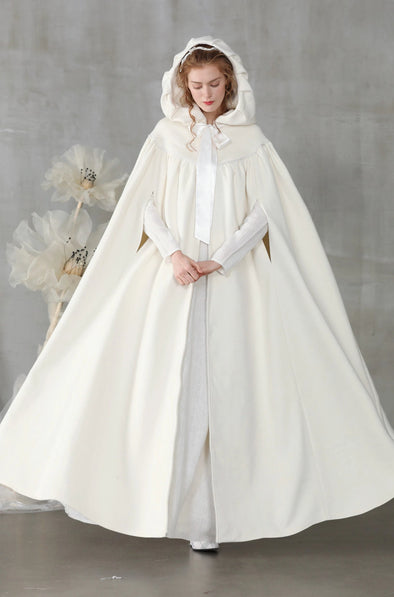 white wool cloak wedding cape | Linennaive