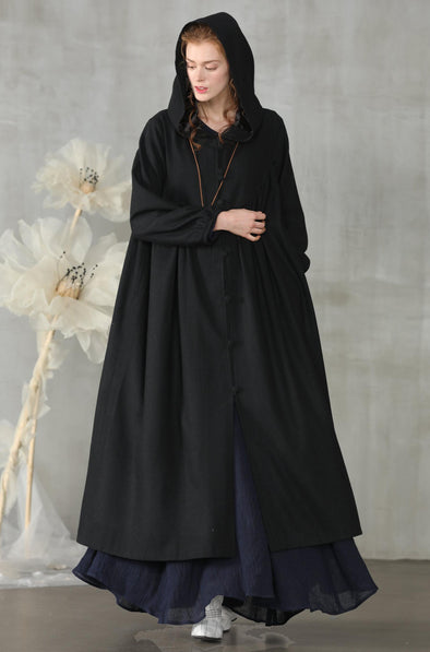 black hooded wool coat |Linennaive®