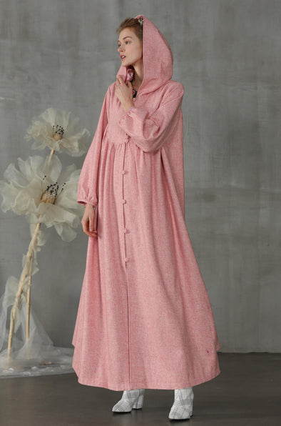 hooded wool coat dress |Linennaive®