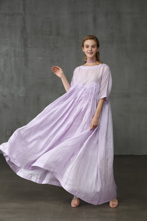 linen wedding maxi dress in lilac | Linennaive®