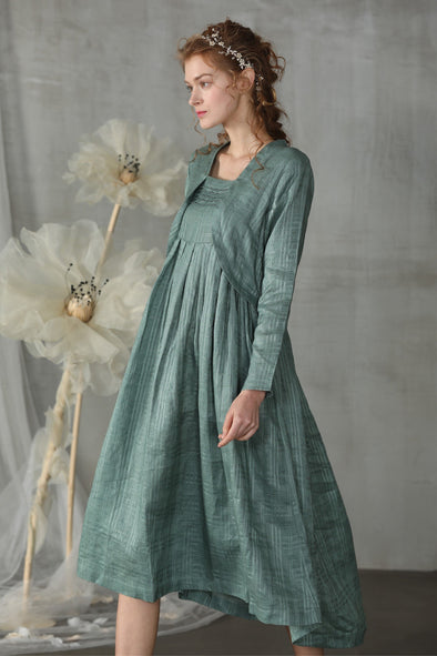 layered linen dress- moss green irregular dress | Linennaive®