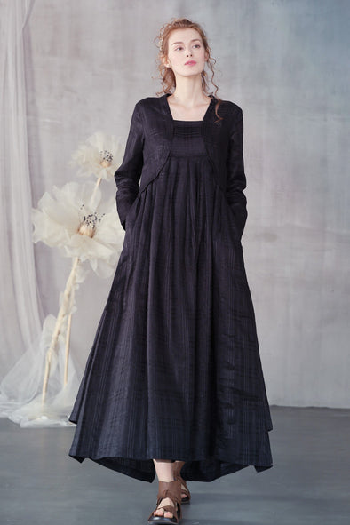 black irregular linen dress maxi dress | Linennaive®