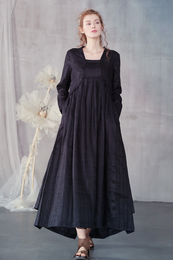 Benzoin 33 | black irregular linen dress