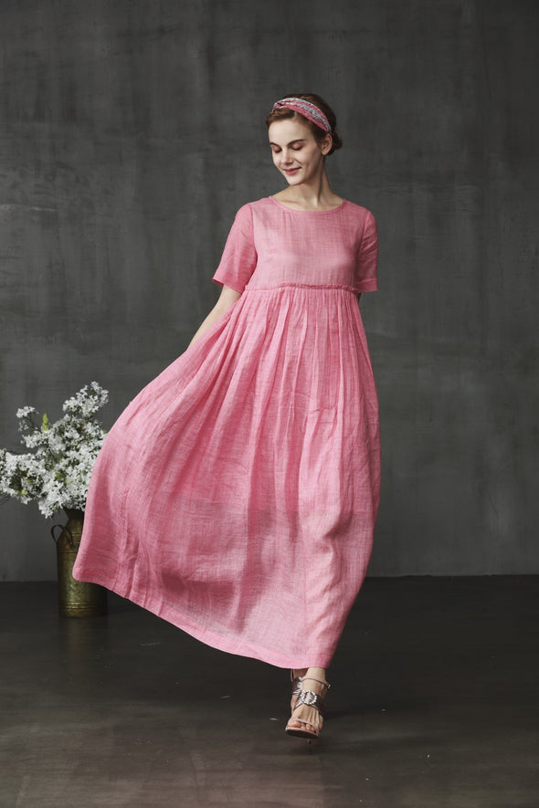 linen empire dress in pink | Linennaive®
