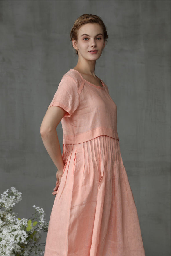 linen tea dress in blush pink | Linennaive®