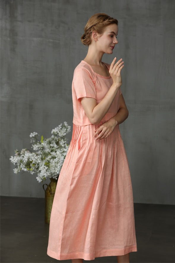 Cosmo 24| linen tea dress in blush pink
