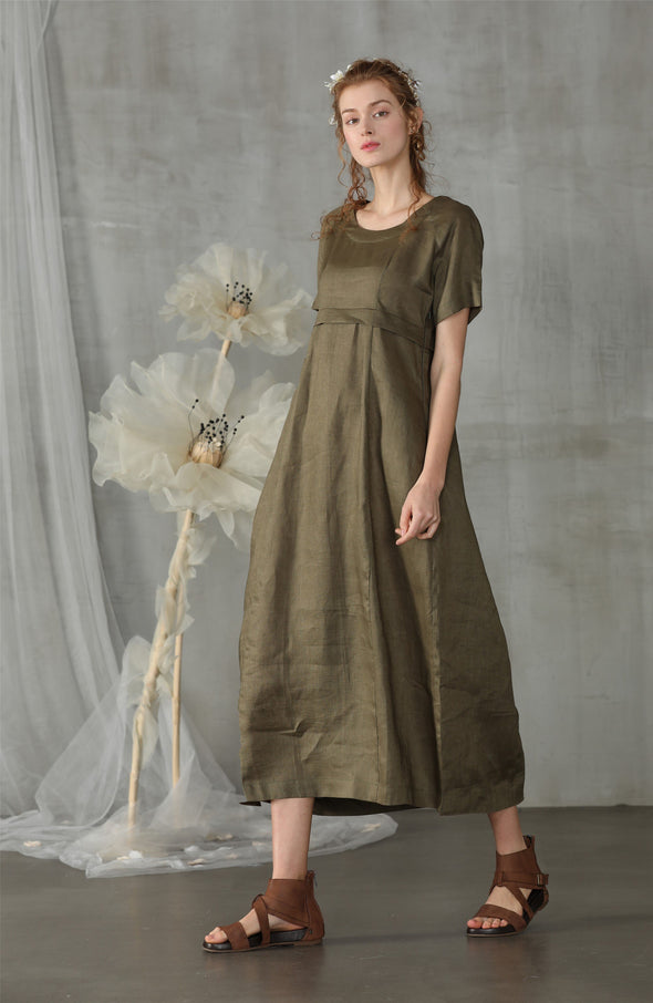 empire linen dress in olive green | Linennaive®
