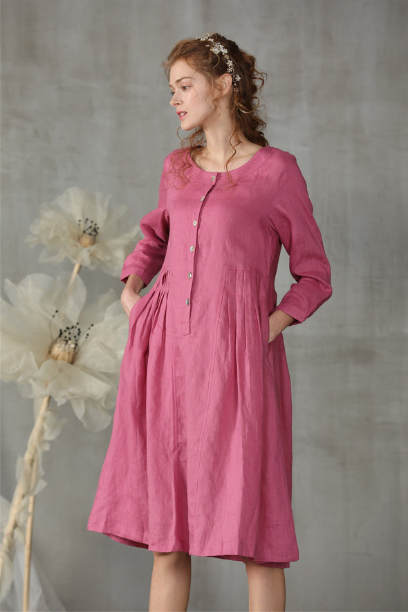 button down linen dress in rouge | Linennaive®