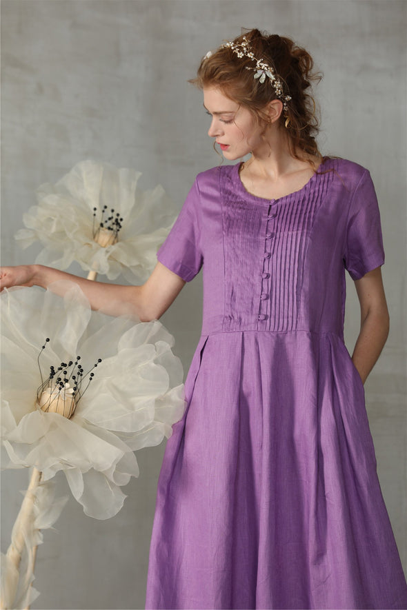 maxi prom linen dress in violet | Linennaive®