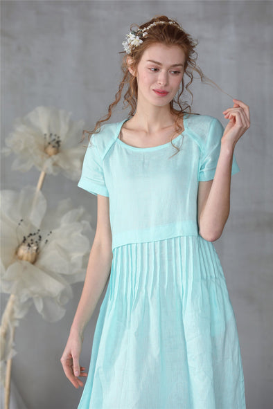 linen tea dress in mint blue | Linennaive®