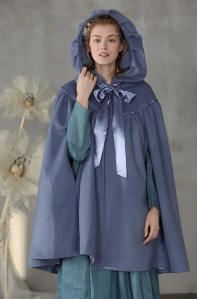 Hooded wool cloak cape  | Linennaive