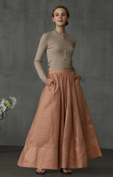 maxi linen skirt in latte nude | Linennaive®