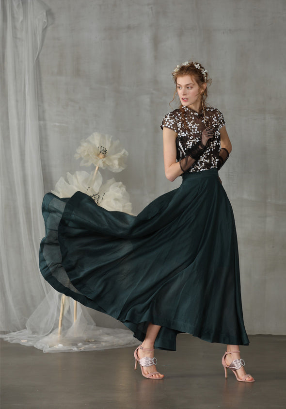 maxi fairy linen skirt in teal green | Linennaive®