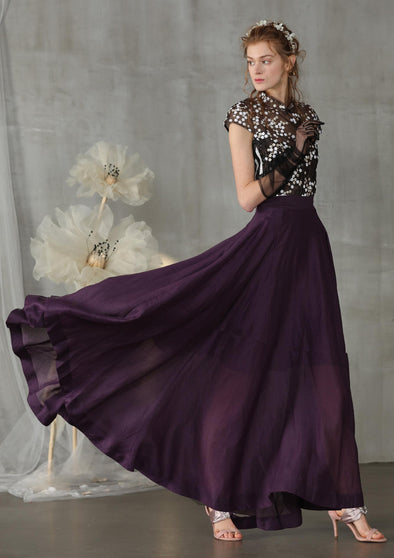 flowy maxi skirt in purple linen skirt | Linennaive®