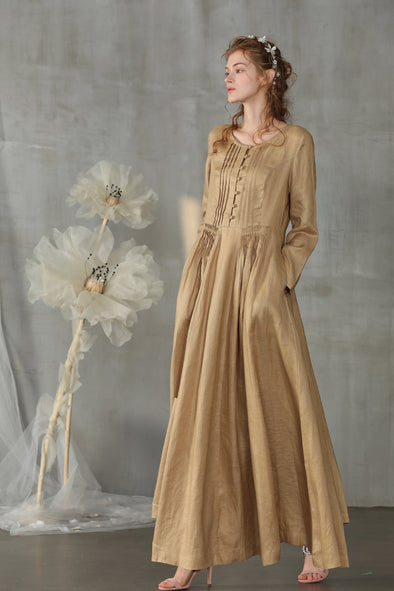 linen dress macaroon pleated dress | Linennaive®