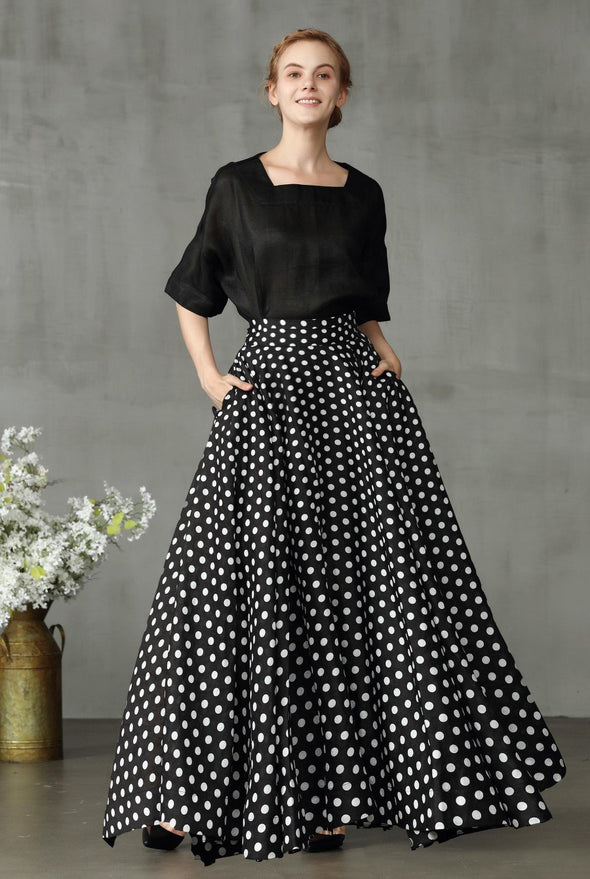 black polka dot skrit with pockets, flowy skirt | Linennaive®
