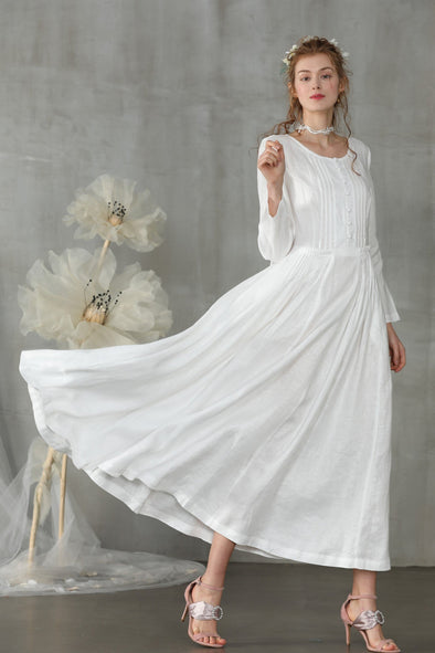 pintuck linen dress white wedding dress | Linennaive®