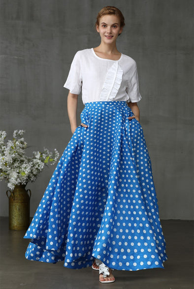 blue polka dot skrit with pockets, flared linen skirt | Linennaive®