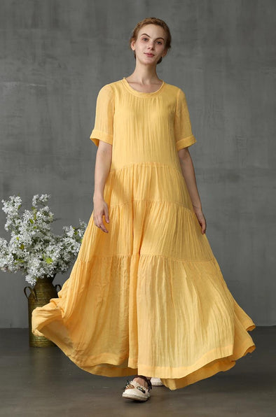 yellow maxi dress layered linen dress | Linennaive®