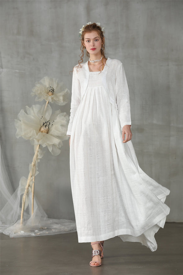 white layered linen dress | Linennaive®