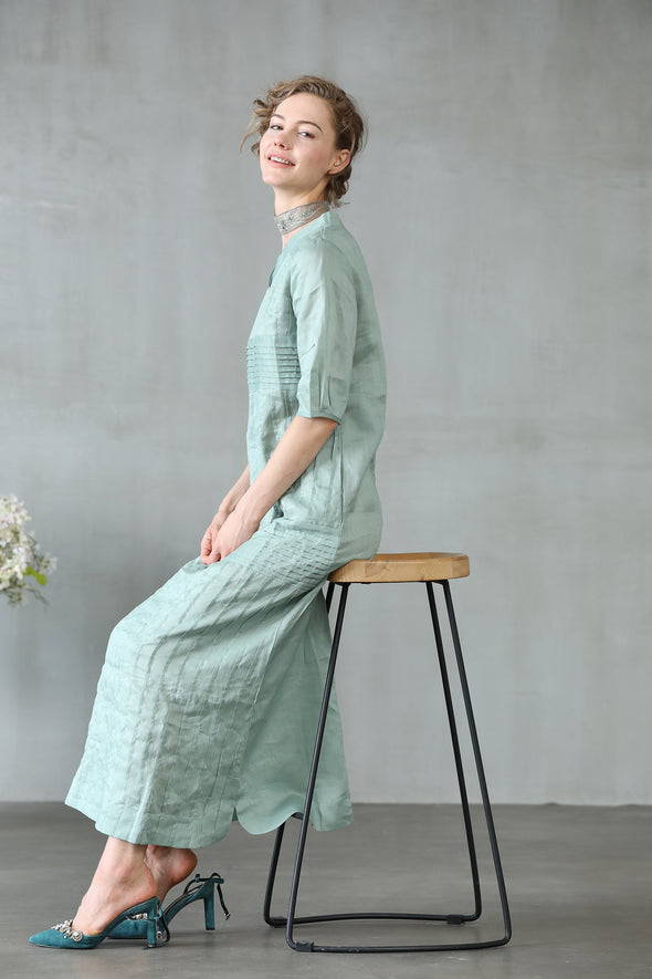 pleated linen dress in aqua | Linennaive®