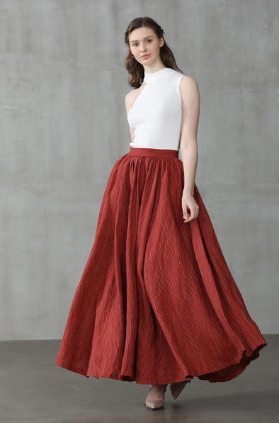 Red Striped Linen Skirt maxi skirt | Linennaive