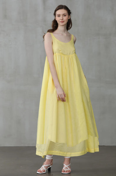 linen slip dress in lemon yellow beach dress | Linennaive